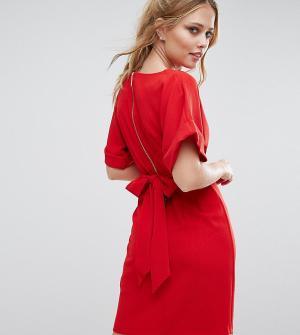 Closet London Платье миди с рукавами-кимоно и поясом на спине. Цвет: красный