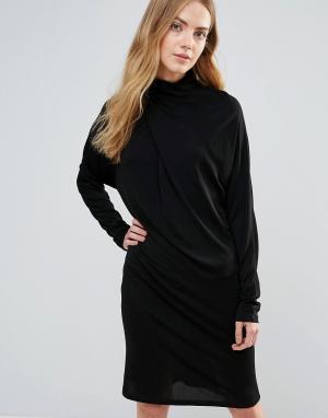 Ganni Асимметричное драпированное платье Doherty. Цвет: черный