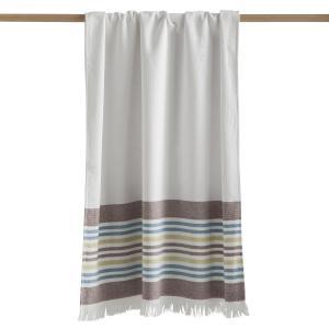 Полотенце банное Fouta из двойной махровой ткани от CYPRUS La Redoute Interieurs. Цвет: белый в полоску