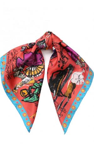Шелковый платок с принтом Christian Lacroix. Цвет: коралловый