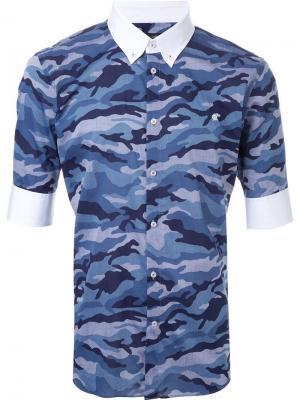 Рубашка на пуговицах с камуфляжным принтом Loveless. Цвет: синий