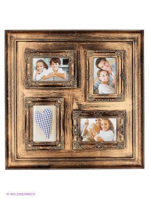 Фоторамка на 4 фото, формата 10x15 см PLATINUM quality. Цвет: коричневый