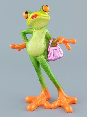 Фигурка  Лягушка - модница Elan Gallery. Цвет: зеленый, сиреневый, оранжевый