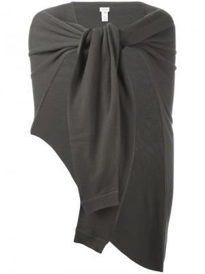 Кашемировый асимметричный шарф Lemaire. Цвет: серый