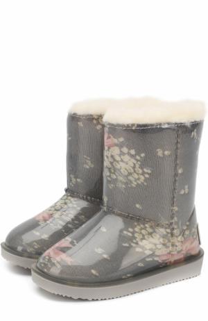 Непромокаемые сапоги с принтом Monnalisa. Цвет: голубой