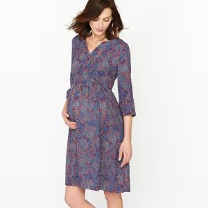 Платье для периода беременности, рукава 3/4, с принтом La Redoute Collections. Цвет: рисунок/синий фон