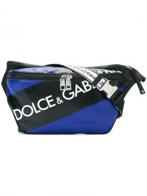 Поясная сумка с логотипом Dolce & Gabbana. Цвет: синий