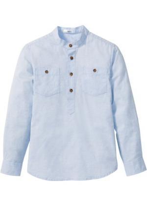 Рубашка с подворачиваемыми рукавами (нежно-голубой) bonprix. Цвет: нежно-голубой