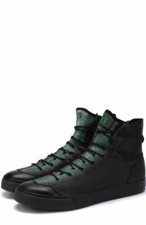 Высокие комбинированные кеды на шнуровке Y-3. Цвет: зеленый