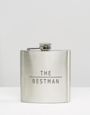Arnold Wills Плоская фляжка Bestman. Цвет: серебряный