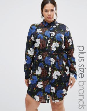 Praslin Платье-рубашка с цветочным принтом Plus. Цвет: черный