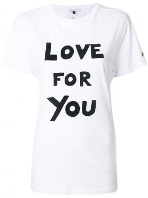 Футболка Love For You Bella Freud. Цвет: белый