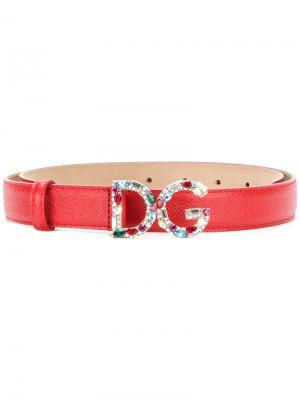 Ремень с логотипом Dolce & Gabbana. Цвет: красный
