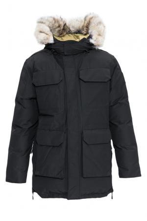 Парка-пуховик с капюшоном и мехом койота 152306 Arctic Bay. Цвет: черный
