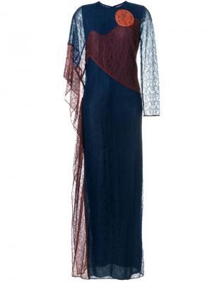 Платье-кафтан Cecilia Tory Burch. Цвет: синий
