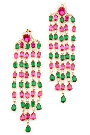 Серьги Donna Lorena. Цвет: зеленый, бордо