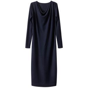 Платье трикотажное средней длины с воротником-качелями и разрезом снизу La Redoute Collections. Цвет: красный/ кирпичный,темно-синий
