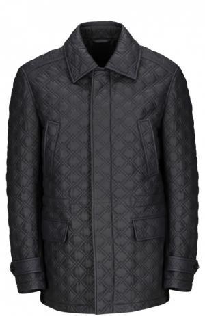 Кожаная куртка Brioni. Цвет: темно-синий
