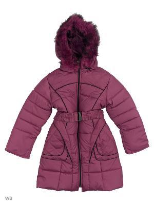Пальто утепленное для девочки Кантик Пралеска. Цвет: темно-фиолетовый