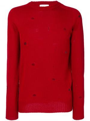 Destroyed effect slim-fit jumper Dondup. Цвет: красный