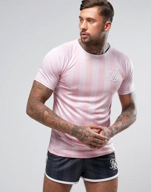 SikSilk Розовая футболка в полоску с закругленным подолом. Цвет: розовый