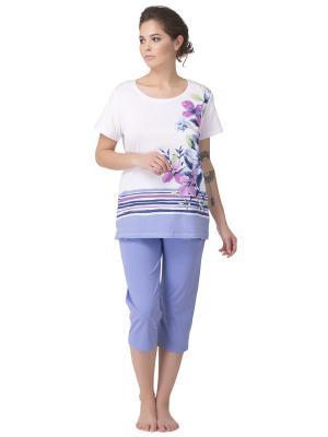Комплект женский: футболка-бриджи PRIMAVERINA. Цвет: синий, розовый, сиреневый