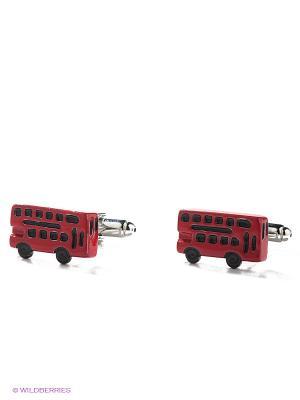Запонки Double deck bus Mitya Veselkov. Цвет: красный, серебристый, черный