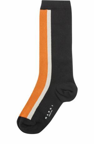 Хлопковые носки с принтом Marni. Цвет: оранжевый