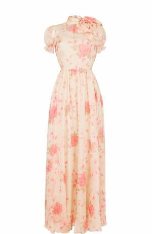Шелковое платье-макси с принтом и воротником аскот Valentino. Цвет: бежевый