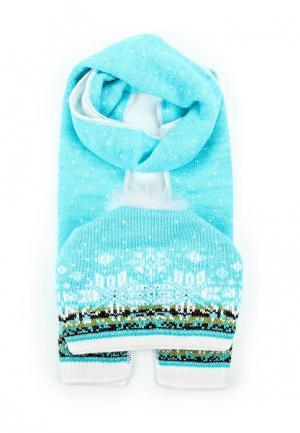 Комплект шапка и шарф Ferz. Цвет: голубой