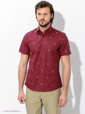 Рубашка MONDIGO. Цвет: красный, темно-синий