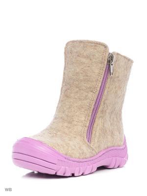 Валенки ФОМА. Цвет: бледно-розовый, темно-бежевый