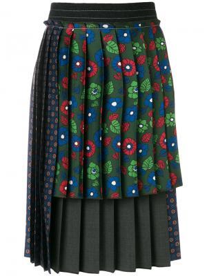Плиссированная многослойная юбка Hache. Цвет: многоцветный