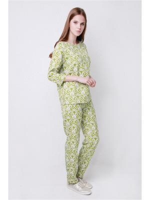 Костюм в пижамном стиле Prema. Цвет: оливковый, белый