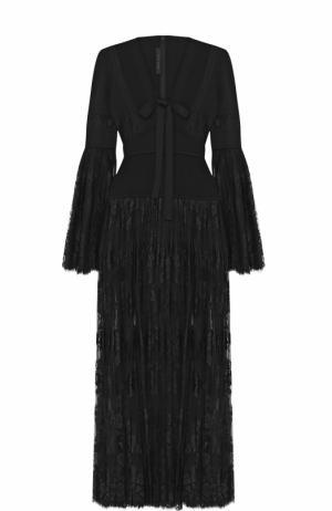 Платье с кружевной полупрозрачной юбкой и бантом Elie Saab. Цвет: черный