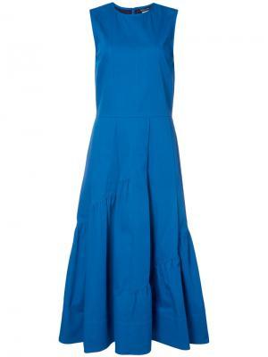 Расклешенное платье с присборенными деталями Derek Lam. Цвет: синий