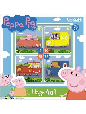 Пазл.4в1.Транспорт Peppa Pig. Цвет: желтый, розовый, синий