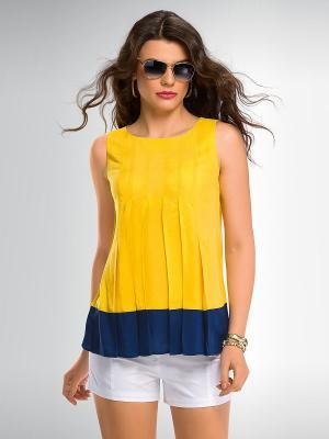 Блузка PELICAN. Цвет: желтый, темно-синий