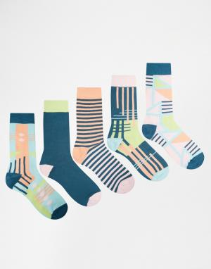 Urban Eccentric 5 пар носков с абстрактным дизайном. Цвет: мульти