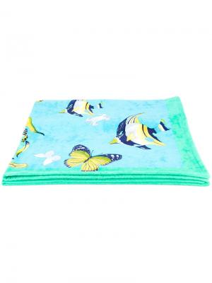 Полотенце с принтом бабочек Salvatore Ferragamo. Цвет: многоцветный
