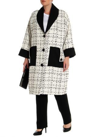 Пальто EVA Collection. Цвет: черно-белая клетка