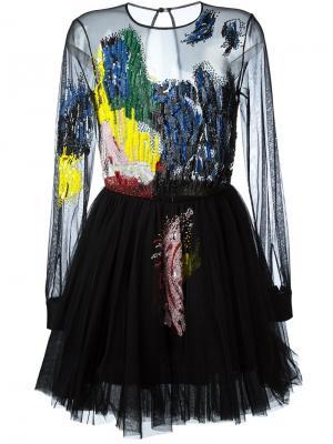Декорированное расклешенное платье Daniele Carlotta. Цвет: чёрный
