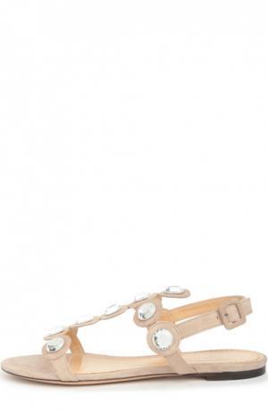 Замшевые сандалии Semi Precious Charlotte Olympia. Цвет: бежевый