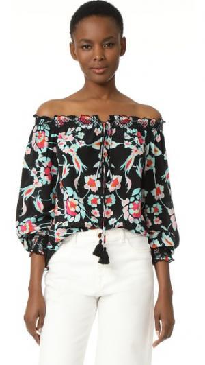 Блуза с мозаичным цветочным рисунком Tanya Taylor. Цвет: черный мульти