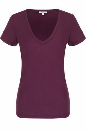 Приталенная футболка с V-образным вырезом James Perse. Цвет: бордовый