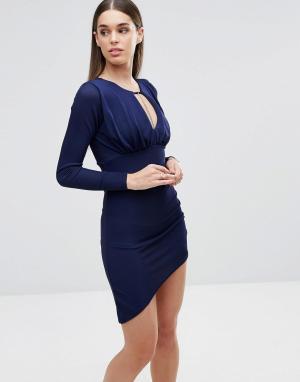 Sistaglam Платье с длинными рукавами. Цвет: темно-синий