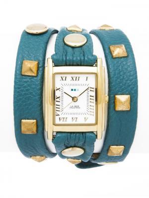 Часы La Mer Collections Pyramid Stud Teal. Цвет: голубой