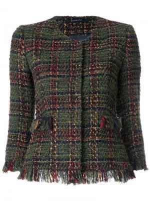 Укороченный твидовый пиджак Tagliatore. Цвет: зелёный