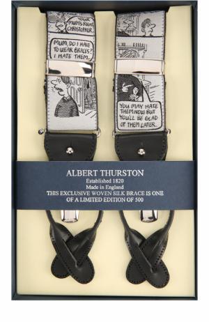 Подтяжки с отделкой из натуральной кожи Albert Thurston. Цвет: серый