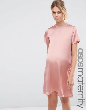 ASOS Maternity Платье-футболка для беременных с атласной вставкой спереди Matern. Цвет: розовый